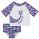 Mermaid Name White Pink and Purple 2pc Short Sleeve Rash Guard - Wimziy&Co.