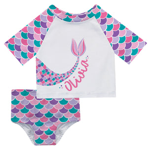 Mermaid Name White Turquoise and Pink 2pc Short Sleeve Rash Guard - Wimziy&Co.