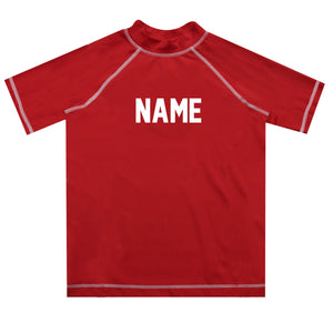 Name Red Short Sleeve Rash Guard - Wimziy&Co.