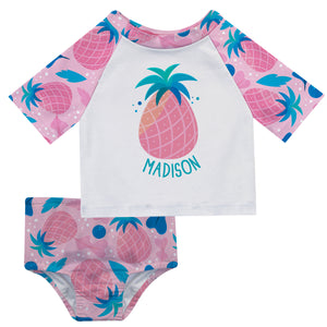 Pineapple Print Name White and Pink 2pc Short Sleeve Rash Guard - Wimziy&Co.