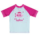 Submarine Name Light Blue and Hot Pink  Short Sleeve Rash Guard - Wimziy&Co.