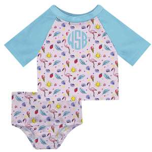 Flamingos Print Monogram Pink and Light Blue 2pc Short Sleeve Rash Guard - Wimziy&Co.
