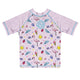 Flamingos Print Monogram Pink Short Sleeve Rash Guard - Wimziy&Co.