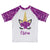 Unicorn Name White and Purple Glitter Short Sleeve Rash Guard - Wimziy&Co.