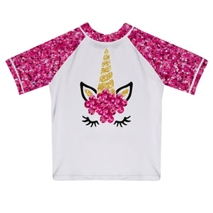 Unicorn Name White and Pink Glitter Short Sleeve Rash Guard - Wimziy&Co.
