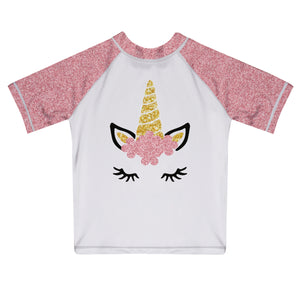 White and pink unicorn face short sleeve rash guard - Wimziy&Co.