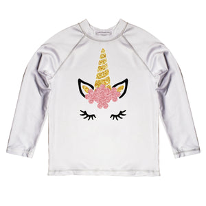 White with unicorn face long sleeve rash guard with name - Wimziy&Co.