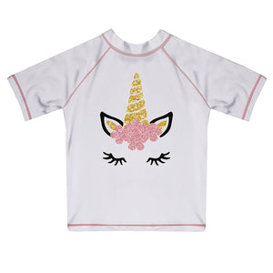 Unicorn Name White Short Sleeve Rash Guard - Wimziy&Co.