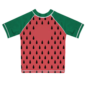 Watermelon Monogram Red and Green Short Sleeve Rash Guard - Wimziy&Co.