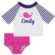 Whale Name White and Navy Stripes 2pc Short Sleeve Rash Guard - Wimziy&Co.