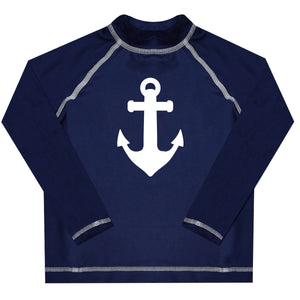 Anchor Monogram Navy Long Sleeve Rash Guard - Wimziy&Co.