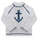 Anchor Monogram White Long Sleeve Rash Guard - Wimziy&Co.