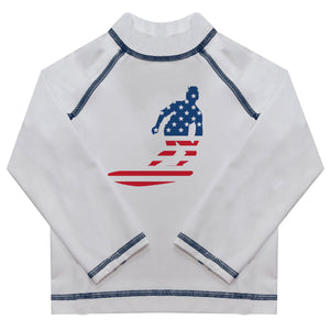 American Surfer Name White Long Sleeve Rash Guard - Wimziy&Co.