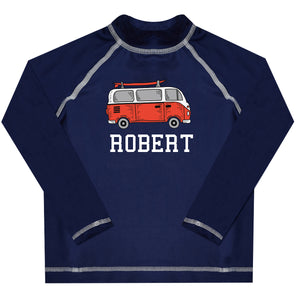 Cars Name Navy Long Sleeve Rash Guard - Wimziy&Co.