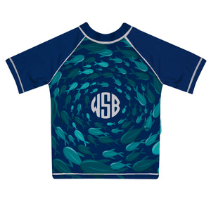 Fishes Print Monogram Navy Short Sleeve Rash Guard - Wimziy&Co.