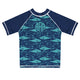 Fishes Print Monogram Navy and Aqua Short Sleeve Rash Guard - Wimziy&Co.