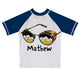 Glasses Name White and Blue Short Sleeve Rash Guard - Wimziy&Co.