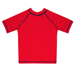 Monogram Red Short Sleeve Rash Guard - Wimziy&Co.