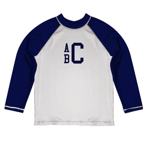 Monogram White and Navy Long Sleeve Rash Guard - Wimziy&Co.