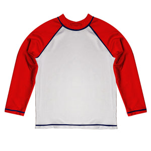 Monogram White and Red Long Sleeve Rash Guard - Wimziy&Co.