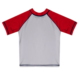 Monogram White and Red Short Sleeve Rash Guard - Wimziy&Co.
