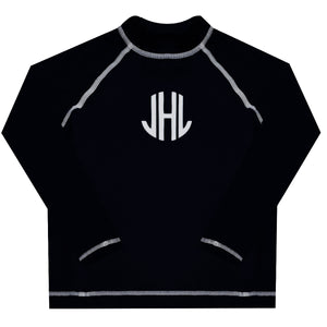 Monogram Black Long Sleeve Rash Guard - Wimziy&Co.