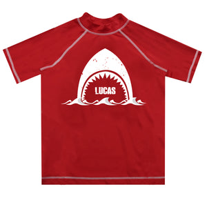 Shark Name Red Short Sleeve Rash Guard - Wimziy&Co.