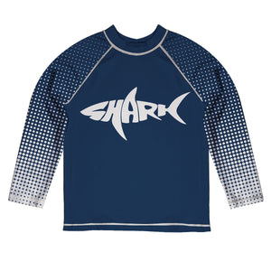 Shark Navy Long Sleeve Rash Guard - Wimziy&Co.