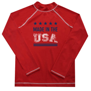Made in the USA Name Red Long Sleeve Boys Rash Guard - Wimziy&Co.