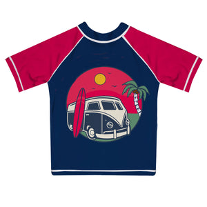 Summer Car Name Navy and Red Short Sleeve Rash Guard - Wimziy&Co.