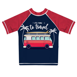 It is Time To Travel Navy and Red Short Sleeve Rash Guard - Wimziy&Co.