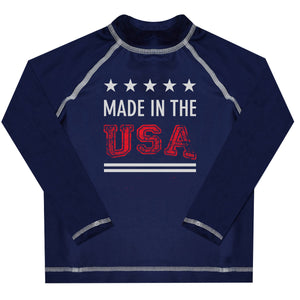 Made In The USA Name Navy Long Sleeve Rash Guard - Wimziy&Co.