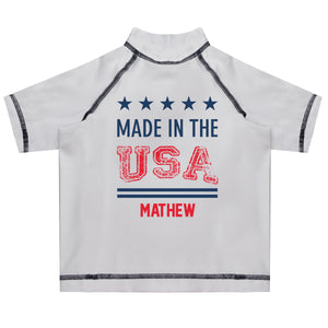 Made In The USA Name White Short Sleeve Rash Guard - Wimziy&Co.