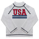 USA White Long Sleeve Rash Guard - Wimziy&Co.