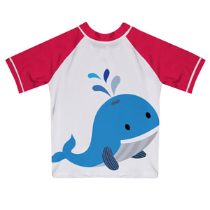 Whale Name White and Red Short Sleeve Rash Guard - Wimziy&Co.