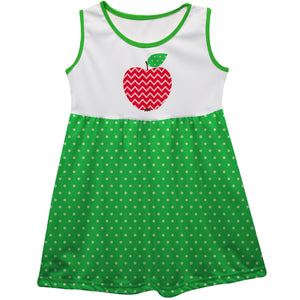 Apple And Polka Dots White And Green Tank Dress - Wimziy&Co.