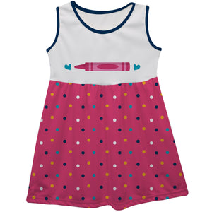 Crayon Name Polka Dots White And Pink Tank Dress - Wimziy&Co.