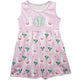 Pink and white llamas a line dres with monogram - Wimziy&Co.