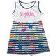 White and navy stripes with multicolor llamas a line dress with name