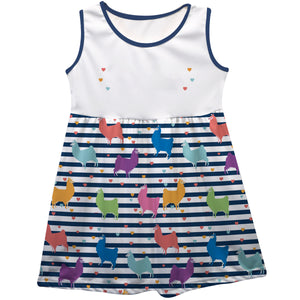White and navy stripes with multicolor llamas a line dress with name - Wimziy&Co.