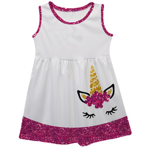 White and red unicorn face tank dress with name - Wimziy&Co.