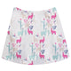White and multicolor llamas girls skirt with monogram - Wimziy&Co.