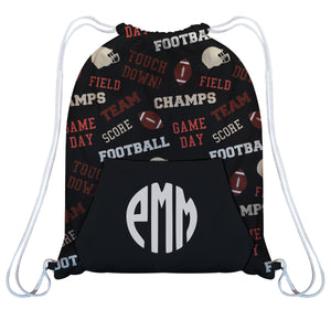 Football Print Monogram Black Gym Bag With Kangaroo Pocket - Wimziy&Co.