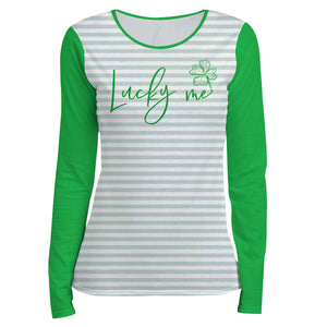 Lucky Me White and Green Stripes Long Sleeve Tee Shirt - Wimziy&Co.