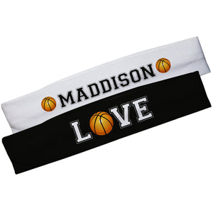 Love Basketball Name White and Black Headband Set - Wimziy&Co.