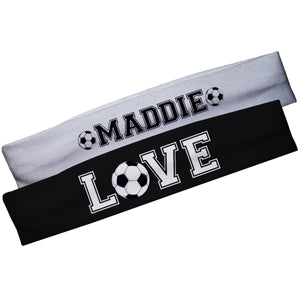 Love Soccer Name Black and White Headband Set - Wimziy&Co.