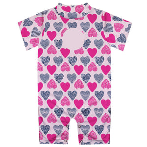 Hearts Print Monogram Pink Romper - Wimziy&Co.