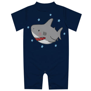 Shark Navy Rash Guard Romper - Wimziy&Co.