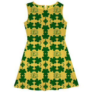 Clovers Monogram Print Yellow Cicle Dress - Wimziy&Co.
