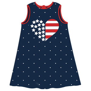 American Heart Navy A Line Dress - Wimziy&Co.